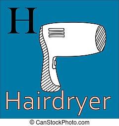 kleuren, alphabet., h, vector, letter., hairdryer, boek
