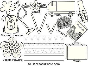 kleuren, alphabet., illustration., praktijk, v., schrijvende , education., vector, book., brief, engelse , children.