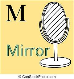 kleuren, alphabet., m, vector, spiegel, letter., boek