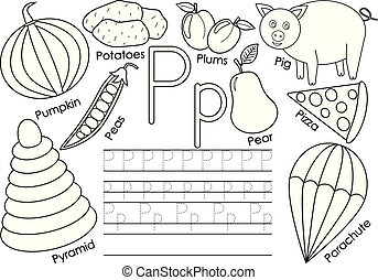 kleuren, alphabet., praktijk, book., schrijvende brief, engelse , children., pictures., opleiding, p.