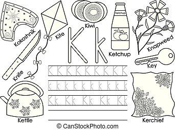 kleuren, alphabet., praktijk, k., book., schrijvende brief, engelse , children., opleiding