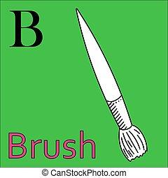 kleuren, alphabet., vector, borstel, letter., b, boek