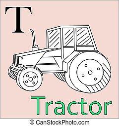 kleuren, alphabet., vector, t, letter., boek, tractor