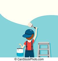 kleuren, beroepen, muur, mensen, penseel, schilder