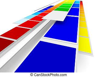 kleuren, bezig met afdrukken van