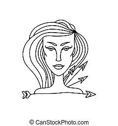kleuren, boogschutter, eenvoudig, zodiac, book., meldingsbord, vector, portrait., volwassene, black , witte , meisje, illustration.