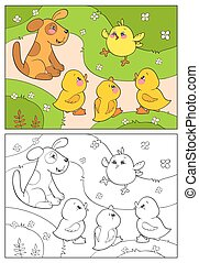 kleuren, book., eenden, proosten, puppy., gele, chicken