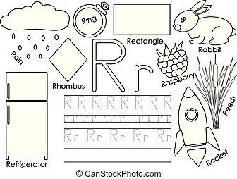kleuren, brief, afbeeldingen, praktijk, language., book., schrijvende , kaart, leren, engelse , children., r., preschool