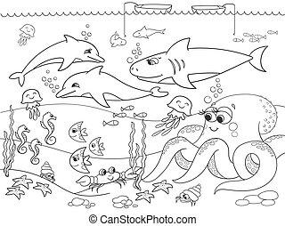 kleuren, cartoon., geitjes, animals., vector, zeebedding,...
