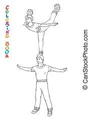 kleuren, circus, illustratie, acrobats., vector, boek