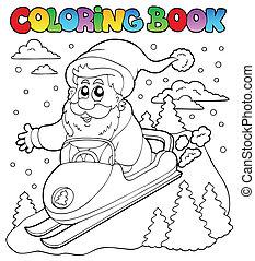 kleuren, claus, topic, boek, 4, kerstman