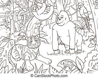 kleuren, dieren, spotprent, vector, jungle, boek