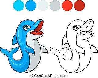 kleuren, dolfijn, book.