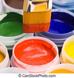 kleuren, en, schilderij, brushes.
