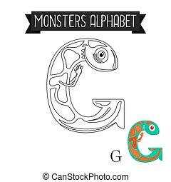 kleuren, g, alfabet, pagina, brief, monsters