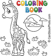 kleuren, giraffe, boek, jonge