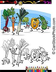 kleuren, groentes, boek, spotprent