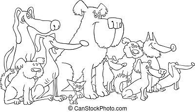 kleuren, honden, zittende