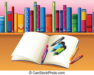 kleuren, houten, plank, illustratie, materialen, boekjes , voorkant, boek, lege