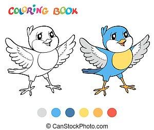 kleuren, illustration., -, vogel, vector, boek