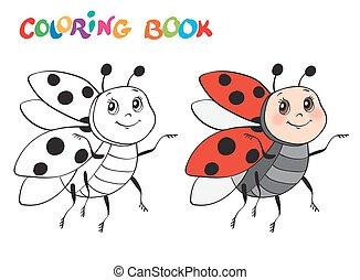 kleuren, illustration., vrijstaand, vector, ladybug., white., boek