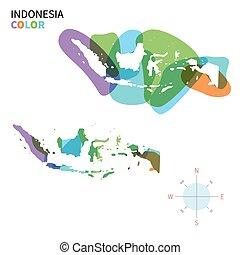 kleuren kaart, abstract, indonesie, vector