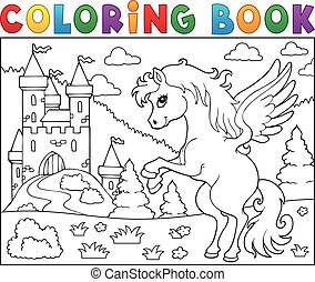 kleuren, kasteel, pegasus, boek