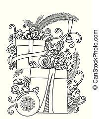 kleuren, kerstmis, pagina