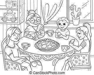 kleuren, kleinkinderen, zittende , bezoek, grootmoeder, boek, tafel., came