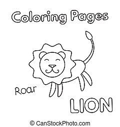 kleuren, leeuw, boek, spotprent