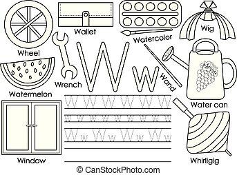 kleuren, leren, alfabet, engelse , practice., schrijvende , vector, book., brief, w., children., opleiding, illustration.