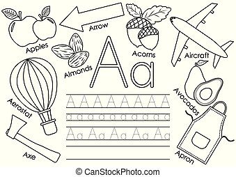 kleuren, leren, alfabet, praktijk, book., a., vector, brief, engelse , children., afbeeldingen, schrijvende , illustration.