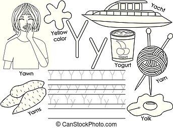 kleuren, leren, y., alfabet, praktijk, book., schrijvende , vector, brief, engelse , children., afbeeldingen, illustration.