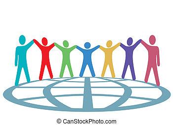 kleuren, mensen, houden hands, en, armen op, op, globe