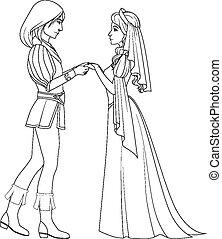 kleuren, middeleeuws, paar handen vast te houden, book: