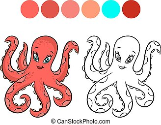 kleuren, octopus, book.