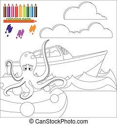 kleuren, octopus, pagina, zee