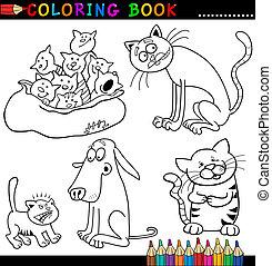 kleuren, of, boek, poezen, spotprent, pagina