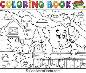 kleuren, omheining, boerderij, varken, achter, boek