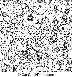 kleuren, pagina, boek, met, decoratief, decoratief, floral, zwart wit, illustratie