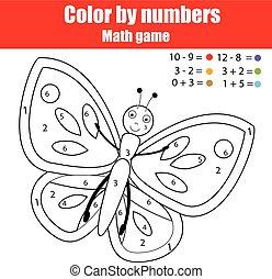 kleuren, pagina, met, butterfly., kleur, door, getallen, onderwijs, kinderen, spel, tekening, geitjes, activiteit