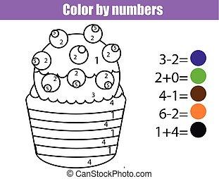 kleuren, pagina, met, cupcake., kleur, door, getallen, onderwijs, kinderen, spel, tekening, geitjes, activity., wiskunde wedstrijd