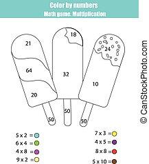 kleuren, pagina, met, ijs, popsicle., kleur, door, getallen, wiskunde wedstrijd, vermenigvuldiging