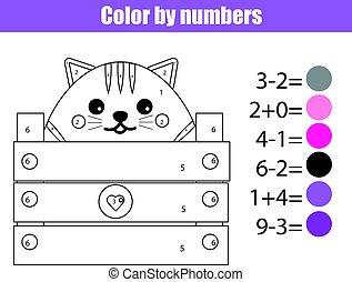 kleuren, pagina, met, schattig, kat, character., kleur, door, getallen, onderwijs, kinderen, spel, tekening, geitjes, activity., wiskunde wedstrijd