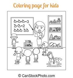 kleuren, pagina, voor, geitjes, gedurende, les