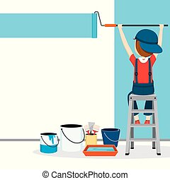 kleuren, paintroller, beroepen, muur, mensen, schilder