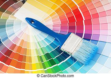 kleuren palet, en, borstel, met, blauwe , handvat