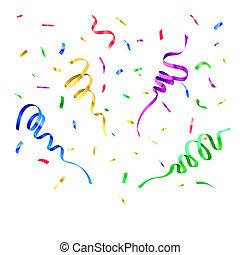 kleuren, papier, confetti., jarig, verrassingspartij, decor, carnaval, vliegen, wimpel, en, kerstmis, feestelijk, het vallen, papieren, vector, vrijstaand