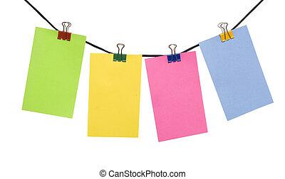 kleuren papier, leeg, op, de, koord