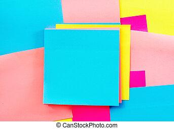 kleuren papier, voor, aantekening